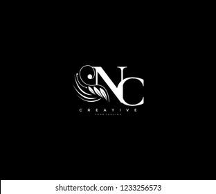 Initial NC letter luxury beauty flourishes ornament monogram logo