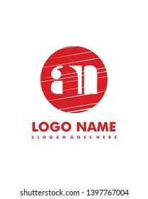 Initial AN negative space logo with circle template