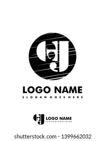 Initial EG negative space logo with circle template