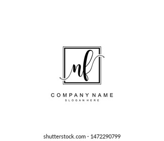 Initial NF beauty monogram and elegant logo design, handwriting logo of initial signature, wedding, fashion, floral and botanical with creative template.