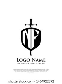 initial NF letter with shield style logo template vector