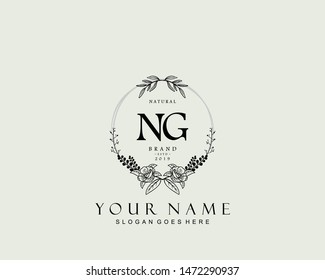 Initial NG beauty monogram and elegant logo design, handwriting logo of initial signature, wedding, fashion, floral and botanical with creative template.
