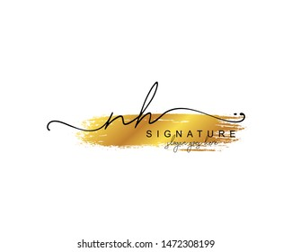Initial NH beauty monogram and elegant logo design, handwriting logo of initial signature, wedding, fashion, floral and botanical with creative template.