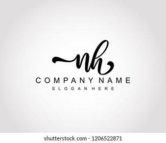 Initial NH handwriting logo vector