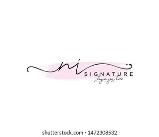 Initial NI beauty monogram and elegant logo design, handwriting logo of initial signature, wedding, fashion, floral and botanical with creative template.