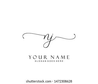 Initial NJ beauty monogram and elegant logo design, handwriting logo of initial signature, wedding, fashion, floral and botanical with creative template.