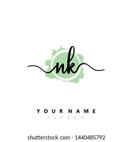 Initial NK beauty handwriting logo vector