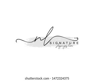 Initial NL beauty monogram and elegant logo design, handwriting logo of initial signature, wedding, fashion, floral and botanical with creative template.