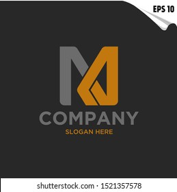 Initial NM Logo monogram design template. Simple line shape style modern logo.