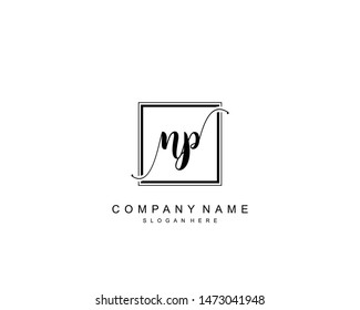 Initial NP beauty monogram and elegant logo design, handwriting logo of initial signature, wedding, fashion, floral and botanical with creative template.