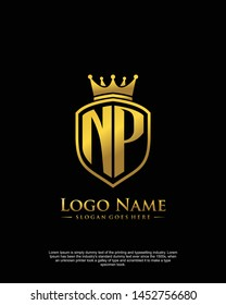 initial NP letter with shield style logo template vector