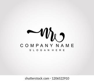 Initial NR handwriting logo vector