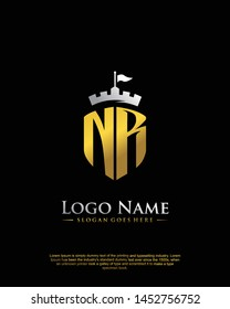 initial NR letter with shield style logo template vector