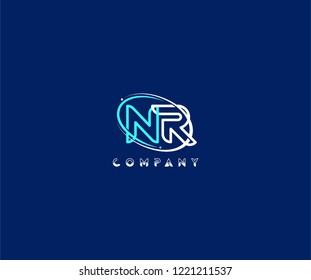 initial NR letter swoosh ring corporate blue white logo