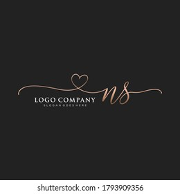Initial NS beauty monogram and elegant logo design, handwriting logo of initial signature, wedding, fashion, floral and botanical with creative template.