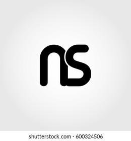 initial ns black business logo