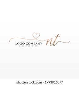Initial NT beauty monogram and elegant logo design, handwriting logo of initial signature, wedding, fashion, floral and botanical with creative template.