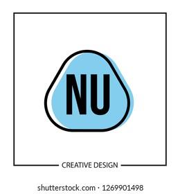 Initial NU Letter Logo Template Design