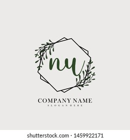 initial NU letter with shield style logo template vector