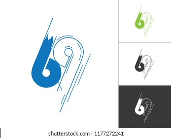 Initial Number 69 Logotype Line Sketch Concept in Vector. Modern Style Number Logo Designs Elements in Blue and Green Color. Number 69 Inside This Designs Elements.