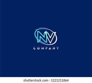 initial NV letter swoosh ring corporate blue white logo