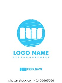 Initial NW negative space logo with circle template