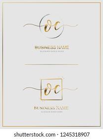 Initial O C OC handwriting logo vector. Letter handwritten logo template.