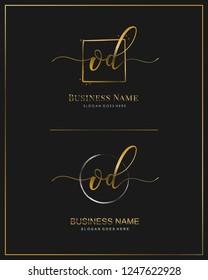 Initial O D OD handwriting logo vector. Letter handwritten logo template.