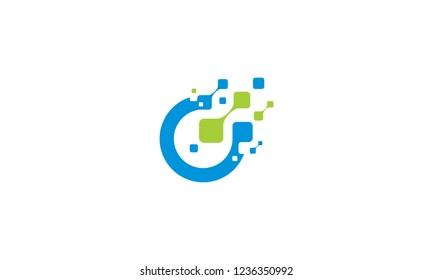 initial O digital technology logo icon vector