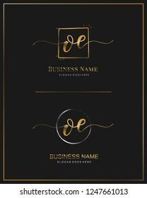 Initial O E OE handwriting logo vector. Letter handwritten logo template.