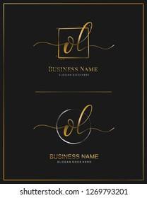 Initial O L OL handwriting logo vector. Letter handwritten logo template.