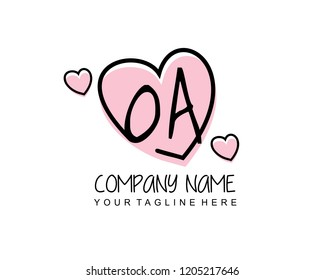 Initial OA with love logo template vector