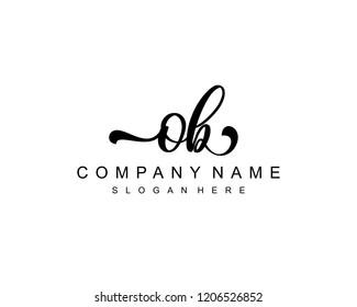 Initial OB handwriting logo vector