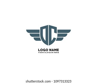 Initial OC. DC wing logo template vector