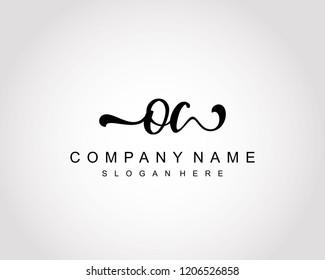 Initial OC handwriting logo vector