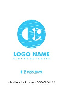 Initial OC negative space logo with circle template