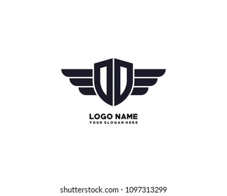 Initial OD. DD wing logo template vector