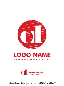 Initial OD negative space logo with circle template