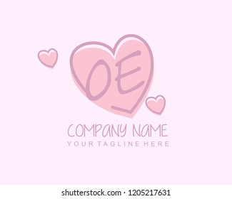 Initial OE with love logo template vector
