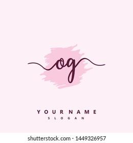 Initial OG beauty handwriting logo vector