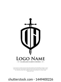 initial OH letter with shield style logo template vector