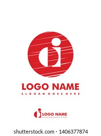 Initial OI negative space logo with circle template