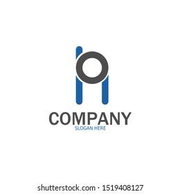 Initial ON, NO Logo monogram design template. Simple handphone style modern logo.