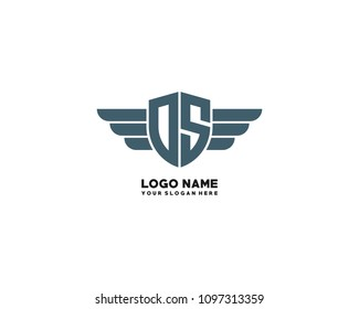 Initial OS. DS wing logo template vector