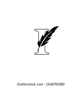 Initial Outline Letter I  Logo with feather. Monochrome design concept  luxury feather element and outline letter I for corporate, lawyer, notary, firm and more brand identity.