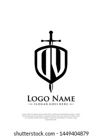 initial OV letter with shield style logo template vector