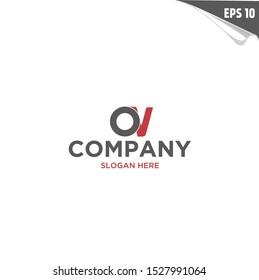 Initial OV Logo monogram design template. Simple elegant shape style modern logo.