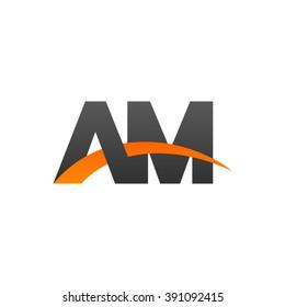 AM initial overlapping swoosh letter logo black orange