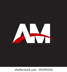 AM initial overlapping swoosh letter logo white red black background