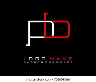 Initial P & B minimalist logo template vector